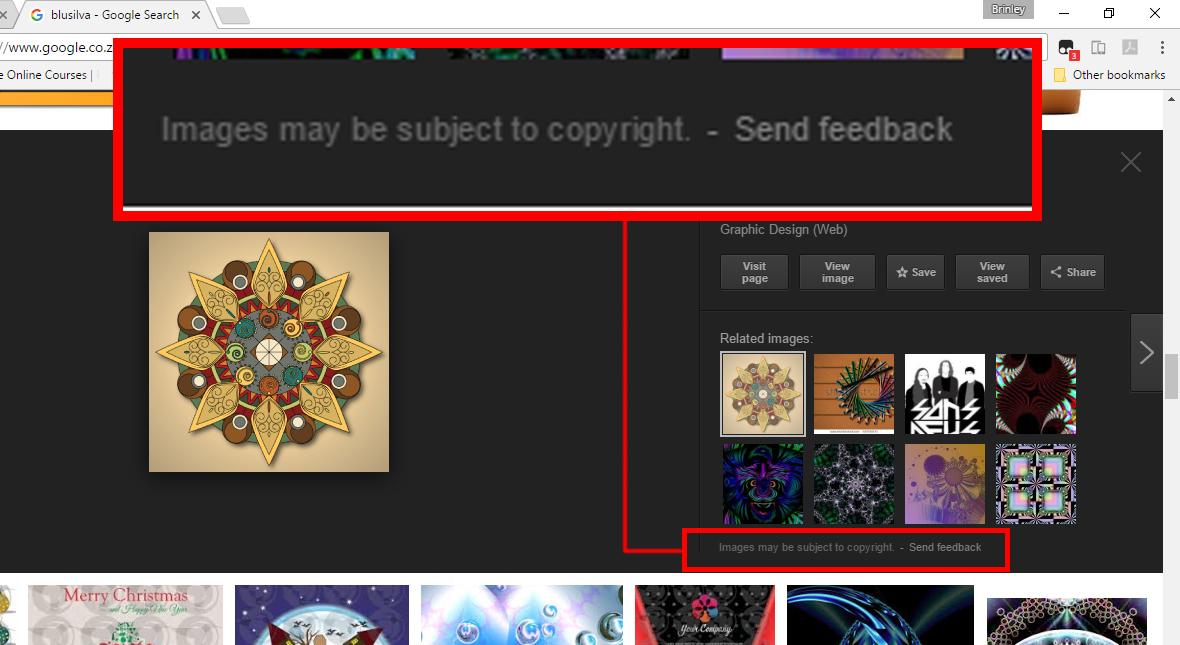 google image copyright warning